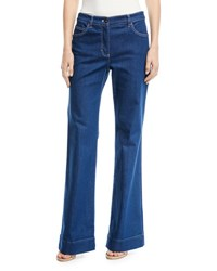Escada Mid Rise Wide Leg Jeans With Contrast Topstitching Blue