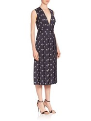 Victoria Beckham Pleated Daisy Print Midi Dress