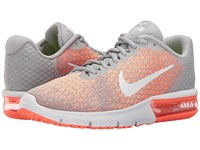 Nike Air Max Sequent 2 Wolf Grey White Bright Mango Sunset Glow Women's Running Shoes Gray