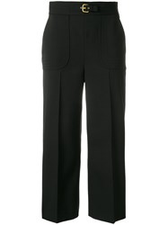 Red Valentino Loose Fit Cropped Trousers Polyester Spandex Elastane Acetate Wool Black