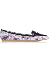 Charles Philip Inna Paneled Printed Satin Loafers