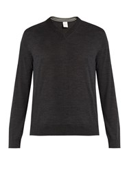 Paul Smith V Neck Wool Sweater Charcoal