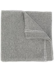 Dondup Embroidered Logo Scarf Grey