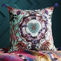 Cb2 Peacock Hearts With Tassels 18 Pillow With Feather Down Insert