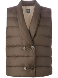 Eleventy Double Breasted Padded Gilet Brown