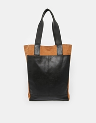 Asos Leather And Canvas Tote Bag Brown