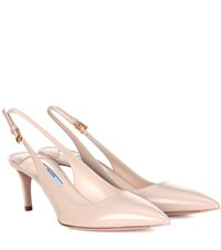 Prada Leather Slingback Pumps Pink
