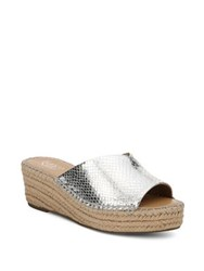 Franco Sarto Pinot Leather Espadrille Wedges Silver