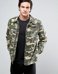 Jack And Jones Originals Field Jacket With Military Patches Thyme Khaki Camo Green