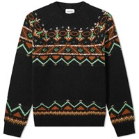 Wood Wood Gunther Fair Isle Crew Knit Black