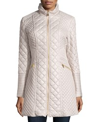 Via Spiga Quilted Long Puffer Coat Oyster