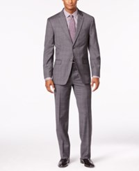 Tommy Hilfiger Men's Charcoal Tonal Plaid Stretch Performance Slim Fit Suit