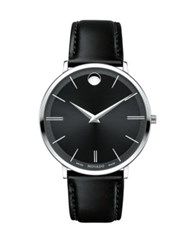 Movado Ultra Slim Stainless Steel Calfskin Leather Strap Watch Black