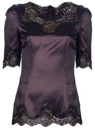 Dolce And Gabbana Lace Detail Top Brown