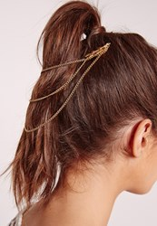 Missguided Leaf Trim Hair Chain Gold Gold