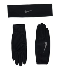 Nike Run Dry Headband And Gloves Set Black Anthracite Silver Athletic Sports Equipment