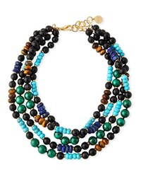 Nest Multi Strand Beaded Necklace With Malachite And Turquoise Black