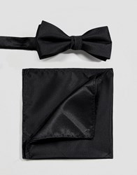 Selected Homme Bow Tie And Pocket Square Set In Black