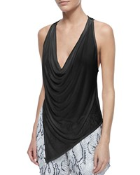 Haute Hippie Cowl Neck Cropped Back Tank Black