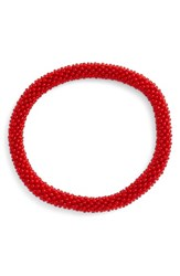Women's Aid Through Trade Roll On Beaded Stretch Bracelet Red