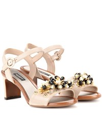 Dolce And Gabbana Embellished Embossed Leather Sandals Beige