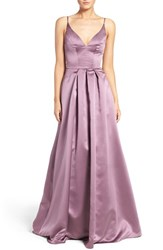 Hayley Paige Occasions Women's Sweetheart Neck Satin A Line Gown Wisteria