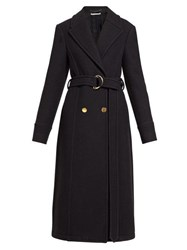 Stella Mccartney Belted Double Breasted Wool Coat Black