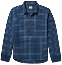 Simon Miller Plaid Cotton Twill Shirt Blue