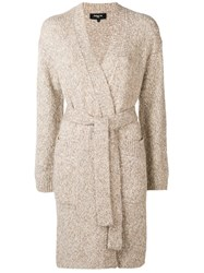Paule Ka Belted Long Cardigan Nude And Neutrals