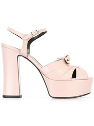 Saint Laurent 'Candy 80' Bow Sandals Pink Purple