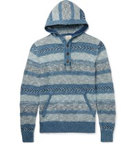 Faherty Striped Jacquard Knit Cotton Hoodie Indigo
