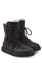 Ugg Australia Shearling Lined Boots With Lace Up Front Black