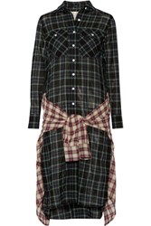 R 13 R13 Grunge Wrap Effect Checked Wool Blend Gauze Dress Dark Green
