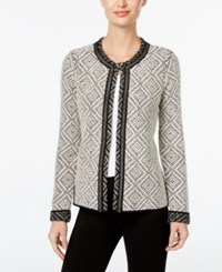 Jm Collection Petite Diamond Pattern Cardigan Only At Macy's Black White Combo