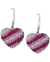 Effy Collection Balissima By Effy Pink Sapphire Heart Drop Earrings In Sterling Silver 2 1 4 Ct. T.W.
