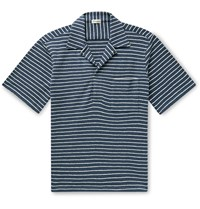 Camoshita Skipper Camp Collar Striped Cotton Terry Shirt Blue