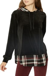 Sanctuary Highland Woven Mix Hoodie Black Red Plaid