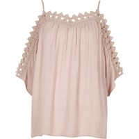 River Island Womens Light Pink Cold Shoulder Lace Top