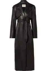Khaite Blythe Leather Trench Coat Black