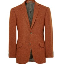 Richard James Orange Slim Fit Harris Wool Tweed Blazer Orange