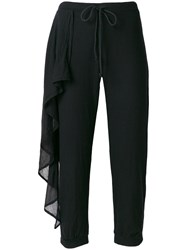 Lost And Found Rooms Frill Trim Cropped Trousers Black