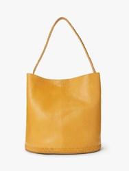 And Or Isabella Leather Whipstitch Bucket Bag Ochre