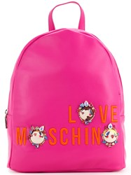 Love Moschino Logo Medium Backpack Women Polyurethane One Size Pink Purple