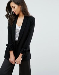 Miss Selfridge Bow Sleeve Blazer Black