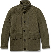 Michael Kors Quilted Suede Field Jacket Green