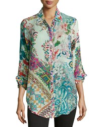 Johnny Was Multi Print Button Front Blouse Multi Print B