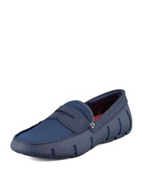 Swims Mesh And Rubber Penny Loafer Navy
