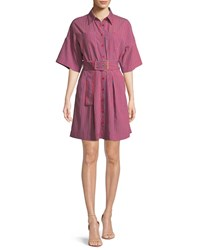 Diane Von Furstenberg Short Sleeve Button Up Belted Shirt Dress Cherry