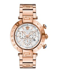 Versace 46Mm Reve Chronograph Bracelet Watch Rose Golden White