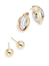 Saks Fifth Avenue 14K Gold Two Tone Hoop And Ball Stud Earring Set